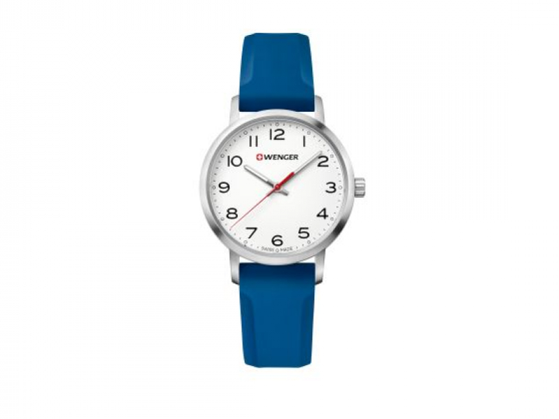 WENGER WHITE FACE BLUE SILCONE STRAP  by Wenger Watches By Victorinox