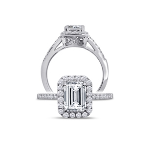 Sterling Silver with Simulated Emerald Cut Diamond Halo Ring by Dizeo