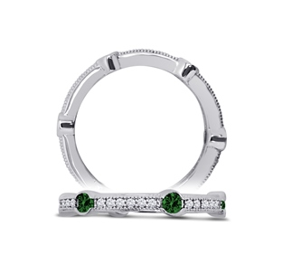 18K White Gold over Sterling, Ring with Emerald and White Simulated Diamonds by Dizeo