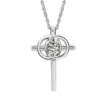 14k White Gold Christian Diamond Marriage Symbol