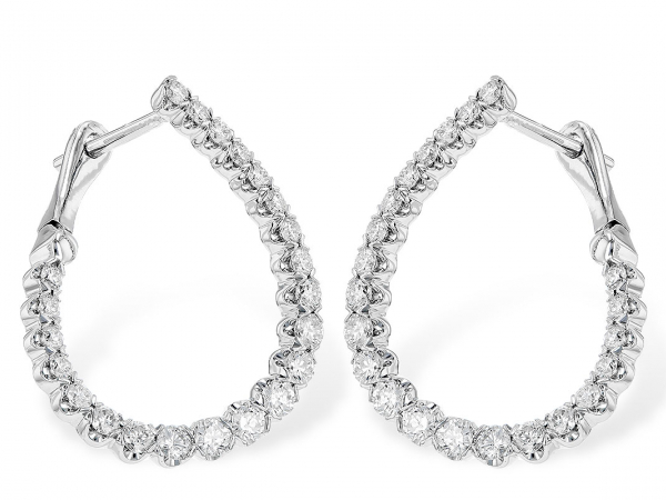 14 kt White-Gold and Diamond Hoop Earrings by Allison Kaufman