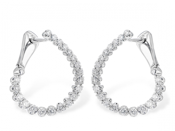 14 kt White Gold and Diamond H-Earrings  by Allison Kaufman