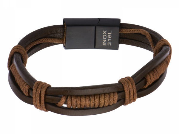 Men S Fashion Jewelry Brown Rope Wred In Leather Bracelet