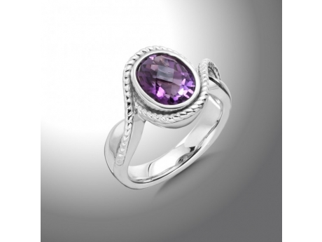 AMETHYST AND STERLING SILVER RING by Colore | SG