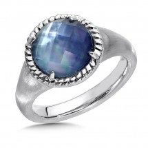 Sterling Silver Quartz & Dyed Blue Mother of Pearl Essentials Ring by Colore | SG